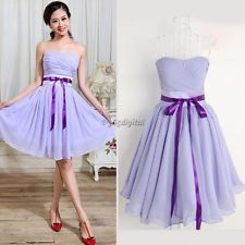 Purple Women Short Bridesmaid Mini Dress Evening Cocktail Party Prom Ball Gown