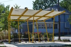 Shade structures by People for Urban Progress, made from upcycled RCA Dome fabric. Stadium Seats, Public Seating, Shade Structure, Pergola Shade, Shade Garden, Pop Up, Habitats, Canopy, Acre