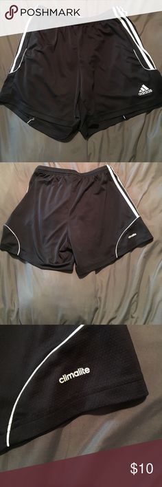 Adidas Climalite black and white shorts. Adidas Climalite black and white shorts. Large women's. Gently worn. Great for exercising in. Stretch waist and 100% polyester. Adidas Shorts