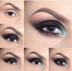 Black smokey eye with blue glitter- gorgeous for the winter