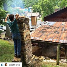 Repost @giliethekid with @repostapp.  Smokin' chickens on the chimney of the anagama while she heats up  by woodfiredpotterykilns