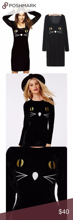 """Missguided Tabitha Cat Embroidered Velvet Bodycon Missguided Tabitha Cat Embroidered Velvet Bodycon Dress Black  Size 14 UK 10 US (runs small so check measurements but it does stretch) Length: 35"""" Chest: 18"""" armpit to armpit Waist: 15.5"""" across Hips: 19"""" across  Ensure all eyes are on your eyes this season in this chic captivating cats eyes embroidered velvet bodycon dress. With long sleeves, concealed zip to reverse and luscious illuminating embroidery this dress is a halloween treat we are…"""