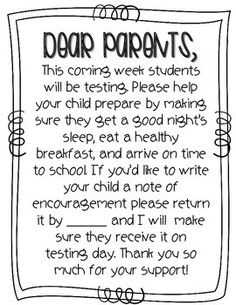 Let your parents know that a big test is coming up and give them the opportunity to write a sweet note to their child with this freebie!Please be kind and leave feedback if you download Thank you so much!Enjoy!Ashley Other places you'll find me: Sharp in Second blogPinterestInstagramtesting, testing letter, parent info, parent information, state testing, parent, letter home