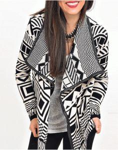 ΖΑΚΕΤΑ AZTEC PRINT Fall Winter, Blazer, Black And White, Womens Fashion, Sweaters, Jackets, Down Jackets, Black N White, Blazers