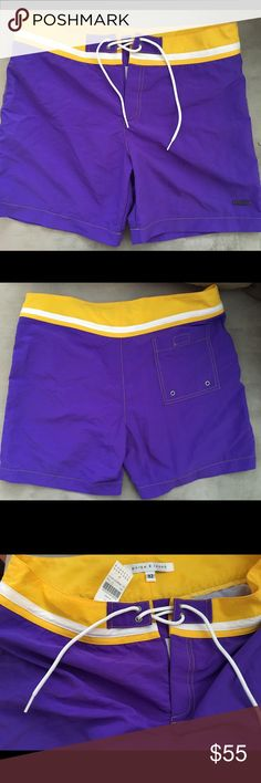 BNWT Barneys' Parke & Ronen men's swim trunks, 32 Parke & Ronen men's fashionable swim trunks, size 32. Brand new with tags, never worn, perfect condition. Purple and yellow; great for your LAKERS' fan beau . Cut shorter than typical trunks.. I.e. for the man a la mode  (w/the fashion.. STYLE).. but just long enough where it's not TOO short. Perfect for summer ☀️ + great deal! Last pic to show the fit/length. . Purchased at Barneys New York. Barneys New York CO-OP Swim