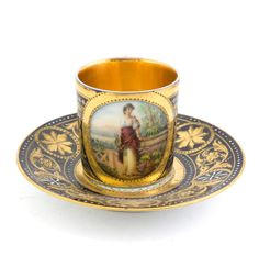 """ANTIQUE HAND PAINTED ROYAL VIENNA DEMITASSE SET - Beautiful and demitasse cup & saucer set. Saucer approx 3"""" diameter. Cup approx. 2"""" tall. Bee hive mark under glaze. Approx 2"""" oval painting of beautiful woman with flowers. Signed W. Rosner. Overall condition excellent. - http://eliteauction.com/catalogues/092510/view.php?id=81"""