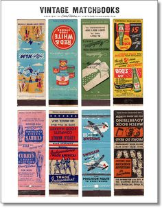 Few vintage graphics are as charming & cool as funky matchbook art. There's just something about the simplicity of the designs, thick typography and off-register spot printing of the colorful inks– not to mention the attention-getting verbage. Vintage Packaging, Vintage Labels, Vintage Ephemera, Vintage Ads, Vintage Images, Vintage Pictures, Vintage Paper, Vintage Stuff, Matchbox Art