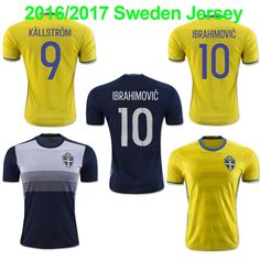 95ba0bc68 16 17 Sweden National Team Soccer Jerseys 2016 European Cup Sweden Home  Away Football Shirt Top Thailand Ibrahimovic Jersey Online with   12.97 Piece on ...