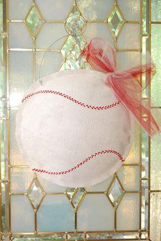 Burlap Baseball Door Greeter. via Etsy.