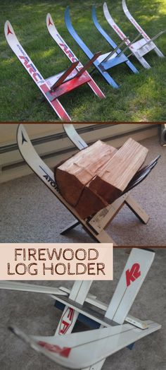 """This is so cool!  This little firewood rack is perfect for your ski hideaway cabin, condo or second home. Choose from a variety of colors and alpine or nordic skis. They are made entirely of upcycled skis and assemble in seconds with no tools required.Measurements are approximately 18""""W x 18"""" H x 18""""L. #Ad #upcyclen #Cabin #logcabin #Rustic #Esty"""