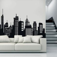 Vinilos Decorativos Edificios Ciudades Wall Design, House Design, Mural Art, Wall Murals, Wall Drawing, Arte Nas Paredes, Paint Designs, Decoration, House Painting