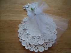 White Paper Doily Wedding Gown Embellishment by ljbminis2021