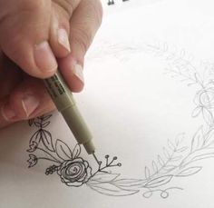 """I'm back with my third post in the """"How to Draw"""" series. (You can view the first two here and here.) I love drawing wreaths but I find myself feeling really ove Realistic Drawings, Love Drawings, Easy Drawings, Pencil Drawings, Plant Drawing, Drawing Flowers, Botanical Line Drawing, Botanical Illustration, Wreath Drawing"""