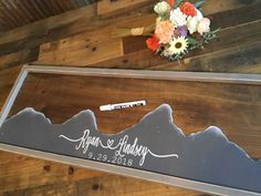 Unique Guest Book Alternative Mountain Wood Wedding Guestbook Guest Book Ideas Gift for Wedding Couples Rustic Wedding Signs, Diy Wedding, Trendy Wedding, Wedding Stuff, Wedding Couples, Wedding Bells, Wedding Reception, Lodge Wedding, Wedding Advice