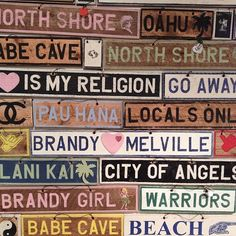 NOT LINK CLICKABLE, IN BRANDY MELVILLE STORE ONLY. I want the sign that says natives of the gold coast. I like a couple other of the signs too