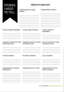 What are the stories YOU need to tell? Gather them with this 3-page writing worksheet!