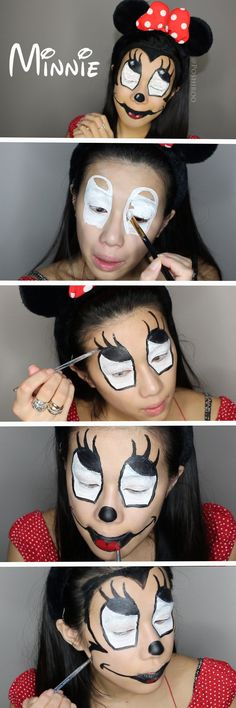 Minnie Mouse Makeup Tutorial - SImple Easy Step by Step Scary Creepy Homemade DIY Costume Ideas for Adults for Kids for Women - Poshiroo.com #facepaintingideasforadults
