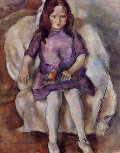 julius mordecai pincas(aka jules pascin, 1885–1930), little girl with a bouquet, 1925. oil on canvas, 31.75 x 15.5 cm. hokkaido museum of modern art, hokkaido, japan  http://www.the-athenaeum.org/art/detail.php?ID=9073