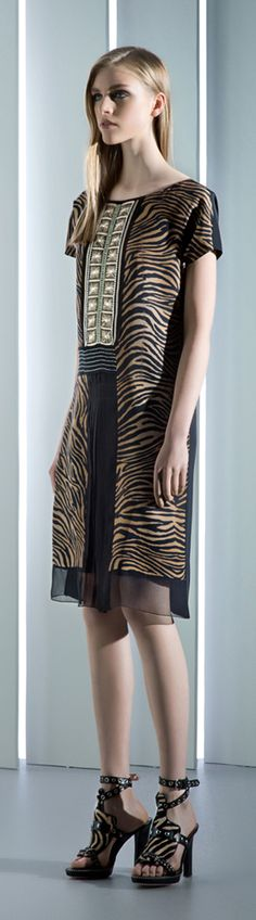 Alberta Ferretti Resort 2014 Runway Tiger Print Dress & Sandals