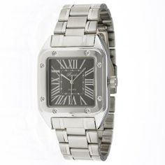 """Breda Men's 4114_Blk """"Russell"""" Square Roman Numeral Classic Watch Breda. $25.20. Black, square dial marked with silver roman numerals and silver hands. Square metal bezel accented with faux screws on all four corners. Silver metal bracelet with fold over clasp. Water-resistant - not recommended to take into deep water or shower. Highest standard Japanese parts Quartz movement. Save 30%!"""