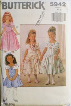 1990s Childrens Sewing Pattern Butterick 5942 Childrens Dress Pattern Size 4, 5, 6 Uncut by SewYesterdayPatterns on Etsy
