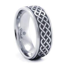Cobalt Chrome with Celtic design Mens Wedding Band #TitaniumJewelry
