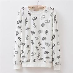 a7062280fc5 New 2016 Fall women s Small broken flower printed basic cotton polyester  french terry pullover sweatshirt