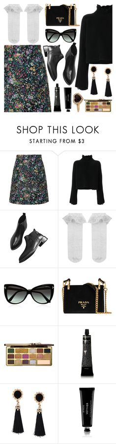 """Winter Flower."" by refinedpunk ❤ liked on Polyvore featuring TIBI, Golden Goose, Monsoon, Tom Ford, Prada, Too Faced Cosmetics, Grown Alchemist, Byredo, Christian Dior and blackbooties"