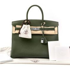 856ca3dca1 New Hermes Togo Leather Birkin Bag 35cm in Canopee Green with Palladium  Hardware and Green Chevre