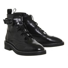 Office Lava Lace Up Buckle Boots Black Box Leather (6.350 RUB) ❤ liked on Polyvore featuring shoes, boots, laced up boots, black lace up boots, leather lace up boots, genuine leather boots and black boots