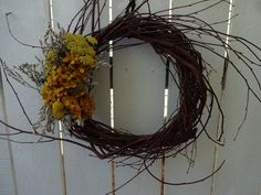 Hydrangea Wreath, Sunflower Wreaths, Grapevine Wreath, Indoor Wreath, Sea Holly, Autumn Wreaths, Wreaths For Front Door, Birthday Decorations