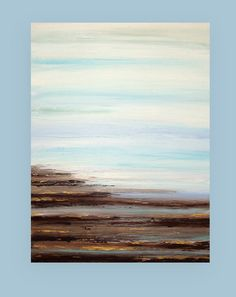 "Beach Abstract Acrylic Art Original Painting on Canvas Titled: Moon River 30x40x1.5"" by Ora Birenbaum"