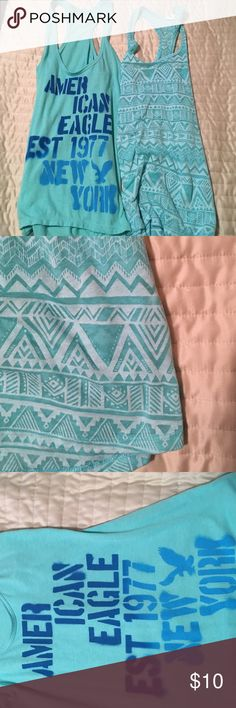 Light Blue Racerback Tanks 2 racerback tanks! -American Eagle, XS -Aeropostale, S, Aztec Print both have no stains or holes. Smoke free home •both tanks fit the same despite the difference in size since they are different brands American Eagle Outfitters Tops Tank Tops