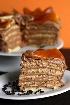 Chocolate Caramel Dobos Torte - She calls it a failure (aesthetically) but it looks pretty darn good to me!