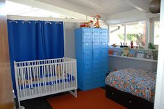 Like the lockers and curtains for a boys room