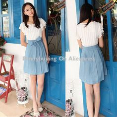 Aliexpress.com : Buy Free Shipping CD127# 2013 Summer Fashion Korean Style Casual Clothes Women Chiffon Vintage Dresses Lady Denim Cotton Dress OL from Reliable lace dress suppliers on PENNYBUYING COM $14.70