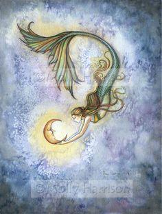 Molly Harrison Mermaid and Moon Art