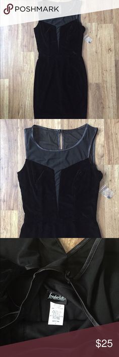 """Frederick's of Hollywood sexy black dress New with extra button tag attached. 93% polyester and 7% spandex. Soft, stretchy velvet. Hidden back zipper. 33"""" long from shoulder to bottom. Sexy mesh material at the bust and back. Frederick's of Hollywood Dresses Midi"""