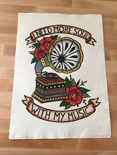 I Need More Soul With My Music - hand coloured lino print Hand Coloring, Traditional Tattoo, Handmade Art, My Music, Printmaking, Hand Painted, Lino Cuts, Lino Prints, Ink
