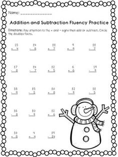 Winter Math Warm-Ups (1st-2nd) - 16 pages of math practice for the winter months. Patterns, adding, subtracting, fact families, skip counting, and story problems.