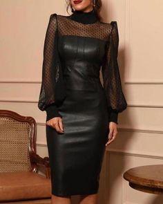Faux Leather Mesh Dot Midi Dress – Moda Perfect For you Trend Fashion, Womens Fashion, Style Fashion, Classy Fashion, Cheap Fashion, Luxury Fashion, Sexy Dresses, Fashion Dresses, Party Dresses