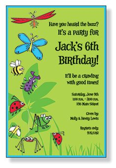Bugs insects nature birthday party invitations bugs insects kids free bug party invitation kids birthday invitations girls boys boys girls sweet 16 invitations stopboris Gallery