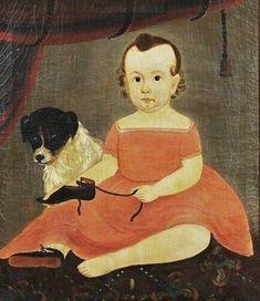 William Matthew Prior (American artist, 1806-1873) Girl with Dog (Prior-Hamblin School):