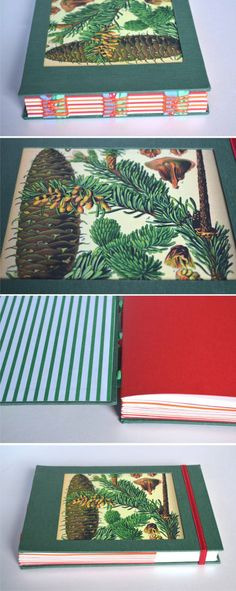 Cuaderno botánico verde  encuadernación con costura expuesta con cinta