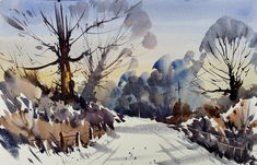 Artists in Wiltshire Watercolor Artists, Watercolor Cards, Watercolor Landscape, Watercolour Painting, Watercolours, Winter Painting, Winter Photos, Paintings I Love, Artist Life