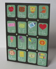 Chalkboard Alphabet And Pictures Handmade Christian Back To School Card With Scripture by stufffromtrees on Etsy