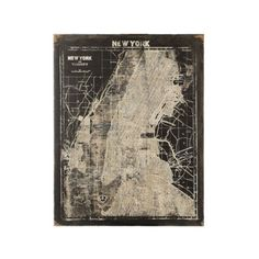 Manhattan Map | You don't have to be at a rooftop party in 'Tribeca right next to De Niro' to love the big city of all big cities: NYC. Display your love and affection for the Big Apple with this canvas New York City wall plaque. Distressed to look vintage.