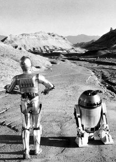 C-3PO and R2-D2 take a stroll - 'Star Wars'. °