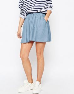 Image 4 - Noisy May Petite - Jupe patineuse en chambray Batiste, Noisy May, Chambray, Denim Skirt, Skater Skirt, Skirts, How To Wear, Outfits, Deer