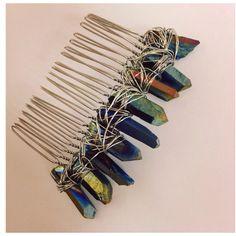 Mermaid Raw crystal crown Titanium Aura Quartz Crysyal Hair Comb Slide... ($22)…